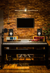 digital sound studio, music production. loft style interior