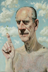 A PAINTING OF PRINCE PHILIP SHOWS HIM BARE CHESTED WITH A FLY ON HIS SHOULDER.
