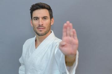 Man in karate stance