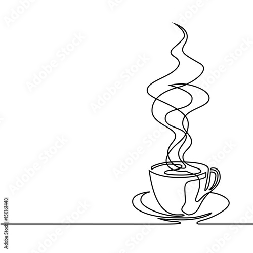 Continuous Line Drawing Of Cup Of Coffee Stock Photo And Royalty