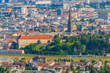 Aerial view of the Austrian city Linz.