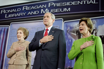 US President Bush and first lady Laura visits Reagan Presidential Library in Simi Vallery