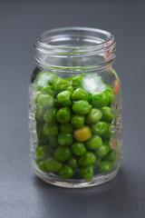 Green peas in a jar