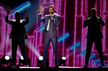 """Sweden's Robin Bengtsson performs with the song """"I Can't Go On"""" during the Eurovision Song Contest 2017 Semi-Final 1 Dress rehearsal 1 at the International Exhibition Centre in Kiev"""