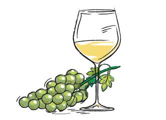 Weisswein, Trauben mit Weinglas, dekorativ