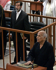 Murshid Mohammad Jasim witness for defence testifies as Saddam Hussein attends his trial held in Baghdad's heavily fortified Green Zone