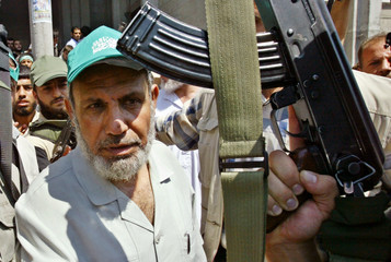 Mahmoud al-Zahar, a senior Hamas leader, leaves Al-Shafae mosque in southern Gaza Strip.
