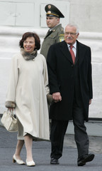 Czech Republic President Klaus and his wife Livia arrive for a military parade in Red Square in Moscow.