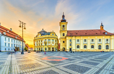 Sunset in center of Sibiu, Transylvania region, Romania. Wall mural