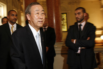 UN Secretary-General Ban arrives for a G8 foreign ministers meeting in Trieste