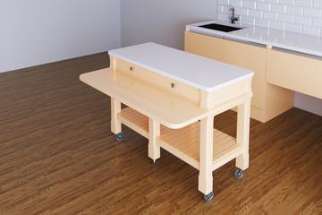 3d render beige kitchen in white room