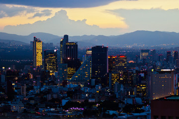 Mexico city at sunset time