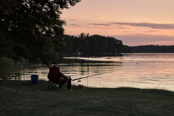 Sunset and fishing on Weekend
