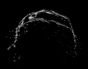 Water splash explosion on black background ,stop motion