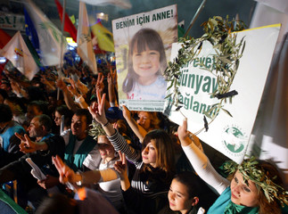 TURKISH CYPRIOTS FLASH V-SIGNS AS THEY CARRY BANNERS DURING A RALLY TO SUPPORT A U.N. BLUEPRINT PLAN.