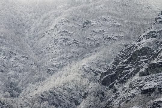 Snowy mountain slopes