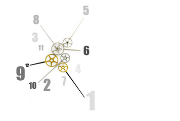 clock with many hands and numbers on white background, time management concept and confusing time concept