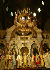 Leaders of Bulgaria's East Orthodox church take part in Firday mass in Sofia.