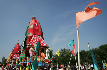 Decorative chariots line up in Hyde Park for the Ratha-Yatra Carnival of Chariots.