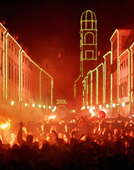 Thousands of people celebrate New Year 2000  in the main square Stradun at the ancient Croatian city..