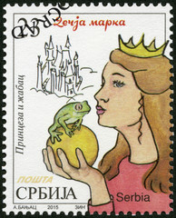 SERBIA - 2015: shows The Princess and the Frog, series Characters from children's books