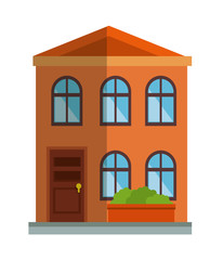 cute building exterior icon vector illustration design