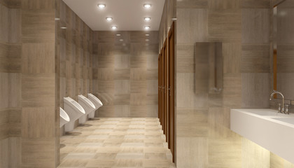 public toilet in shopping Mall, 3D rendering