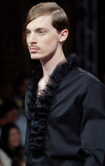 Model presents creation by French designer Levy for Ungaro men's spring/summer 2006 fashion ...
