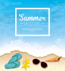 Summer vacations sign with flip flops, starfish, sunglasses and seashell over beach background. Vector illustration.