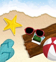 Starfish, sunglasses, ball, flip flops, pictures and wood plank over beach background. Vector illustration.