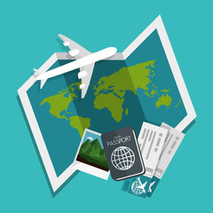 Airplane, passport, tickets and picture over teal background. Vector illustration.