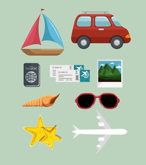 Traveling-related objects and summer vacations sign over green background. Vector illuistration.