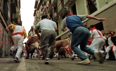 RUNNERS CHASE AFTER BULLS IN THE PAMPLONA BULL RUN.