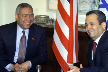 U.S. SECRETARY OF STATE COLIN POWELL MEETS EHUD BARAK IN JERUSALEM.