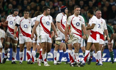 England players react after a penalty is given against them during their Six Nations rugby match against Ireland at Croke Park in Dublin