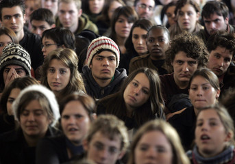 French university students attend a general assembly before voting for the blocking of the university of Aix-en-Provence