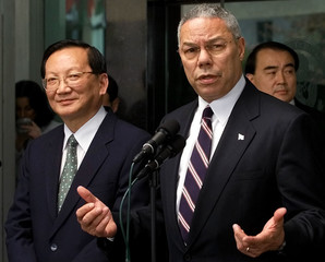 US SECRETARY OF STATE POWELL WITH CHINESE FOREIGN MINISTER.