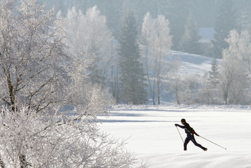 A cross country skier runs in Bad Mitterndorf