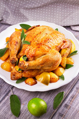 Chicken with Lemon, Lime and Potato Garnished with Sage