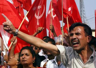 Activists belonging to seven political parties shout anti-monarch slogans in Nepali capital Kathmandu.
