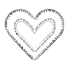 heart love with leafs romantic icon vector illustration design