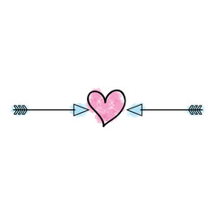 heart love with arrows romantic icon vector illustration design