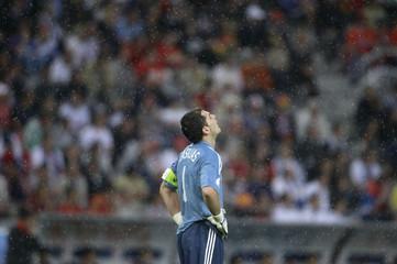 Spain's goalkeeper Casillas reacts during their Euro 2008 soccer match in Innsbruck