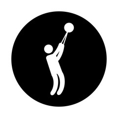 Silhouette of athlete practicing Bullet throw vector illustration design