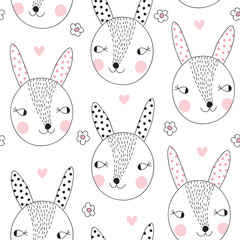 seamless cute bunny rabbit pattern vector illustration