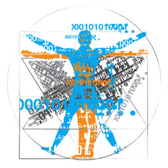 Vitruvian man of digital age. A grunge stylized drawing of vitruvian man with a binary codes symbolized digital age. Vector available.