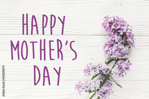 Happy Mothers Day Text Sign Greeting Card Gentle Purple Lilac