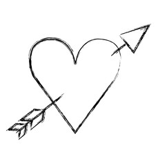 heart love with arrow romantic icon vector illustration design