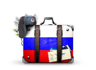 Russia, vintage suitcase with Russian flag