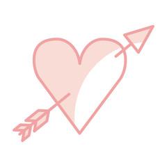 heart love with arrow romantic icon vector illustration design